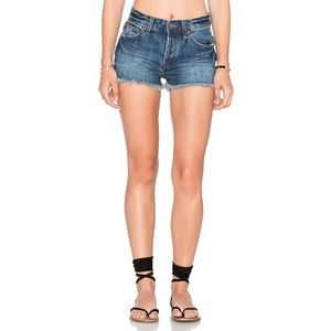 Free People Uptown High Rise Denim Shorts frayed